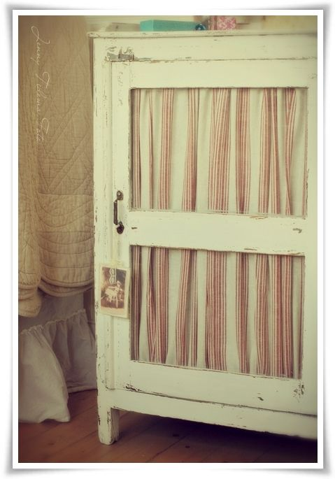 Door Cloth Bedside Table Whitewashed Cottage chippy shabby chic French country rustic swedish decor idea. ***Pinned by oldattic ***.