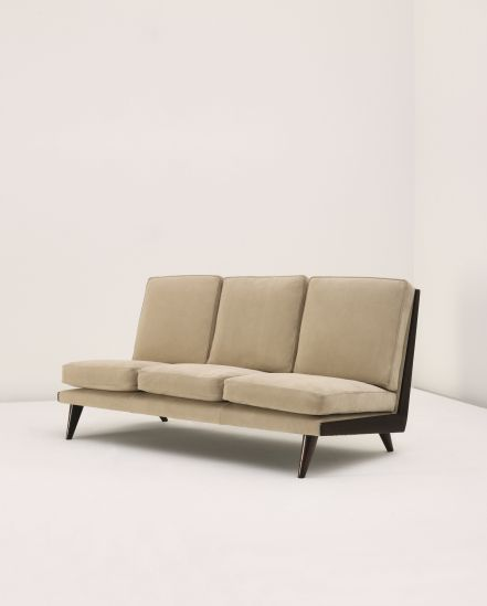 Gio Ponti; Stained Oak and Suede Sofa, 1940s.