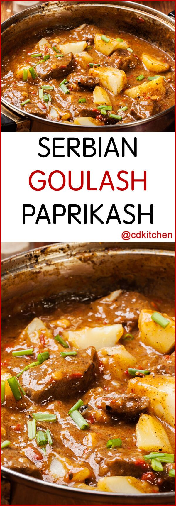 Hard to pronounce but easy to make. Enjoy the tender lamb simmered with the worldly spice of paprika and hearty potatoes. Add a red chili to make this  southeastern European soup shine.    CDKitchen.com