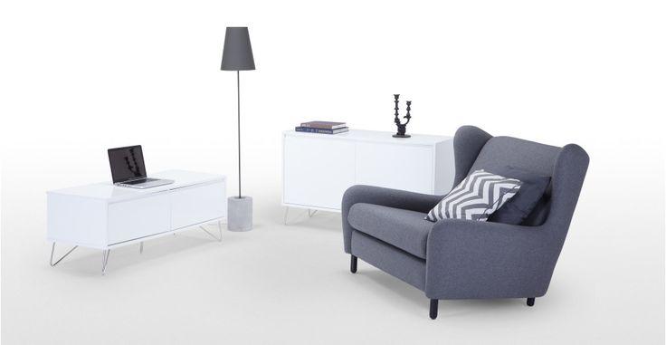 Elona, un meuble TV, blanc brillant | made.com