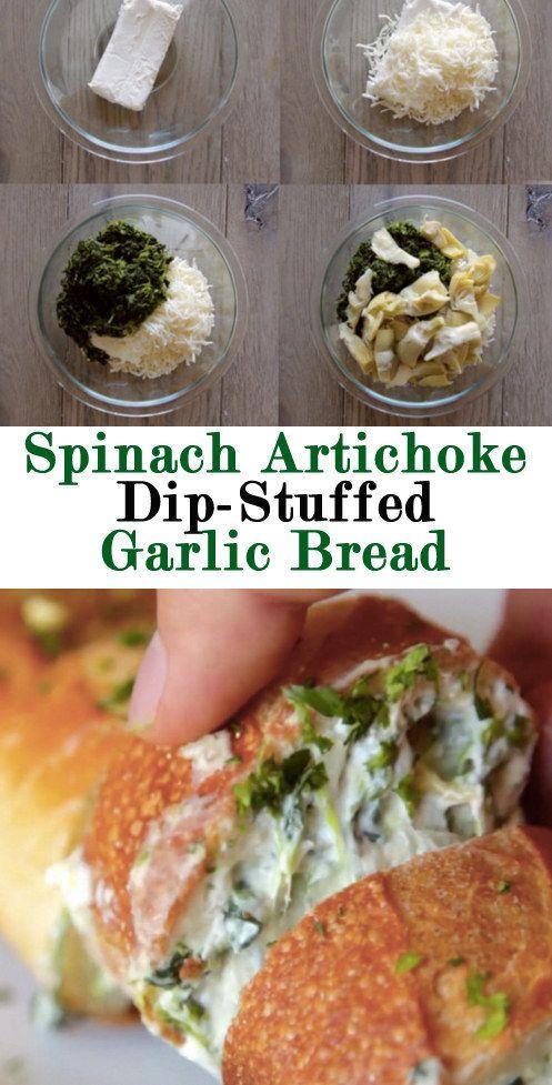 Pan de ajo bañado en espinacas y alcachofas