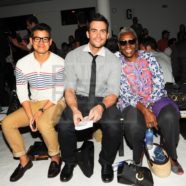 Peter Som, Cheyenne Jackson, Bethann Hardison at the Michael Bastian Spring 2013 show.