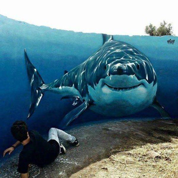 Street Art with a shark in the water. Crazy! Pam Herrick (@JFYpropheticArt) | Twitter