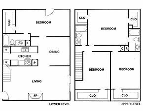 Regents walk apartments 777 bateswood houston tx 77079 townhome floor plan 2 320 sq ft 4 for 2 bedroom townhomes in houston