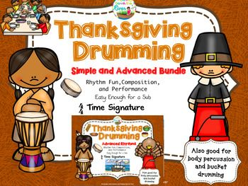 Perfect Thanksgiving actiivity for fun and learning using your drums, bucket drums, small rhythm instruments, or even body percussion!   40% off price of simple and advanced set today.