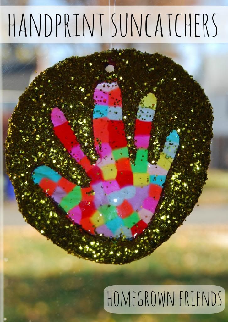 Handprint Suncatchers- Beautiful hanging in your window, as an ornament on the Christmas Tree or as a gift!  (Homegrown Friends)