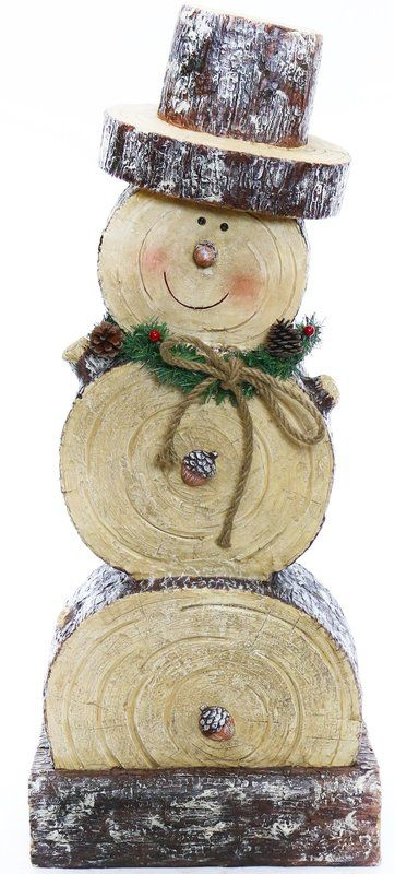 Wooden Snowman Statue – make mini using slices fro…
