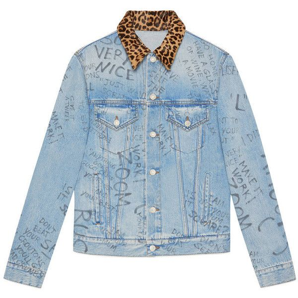 Gucci Scribbled Writing Print Denim Jacket (£1,450) ❤ liked on Polyvore featuring men's fashion, men's clothing, men's outerwear, men's jackets, denim, men, outerwear, ready to wear, mens leopard jacket and mens jackets