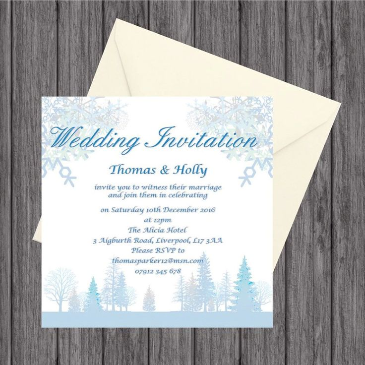 Winter Wedding Day Invites, Personalised, with Envelope by LoobyDooLetters on Etsy