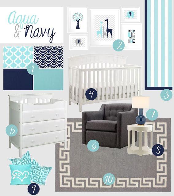 Aqua, Navy and Grey