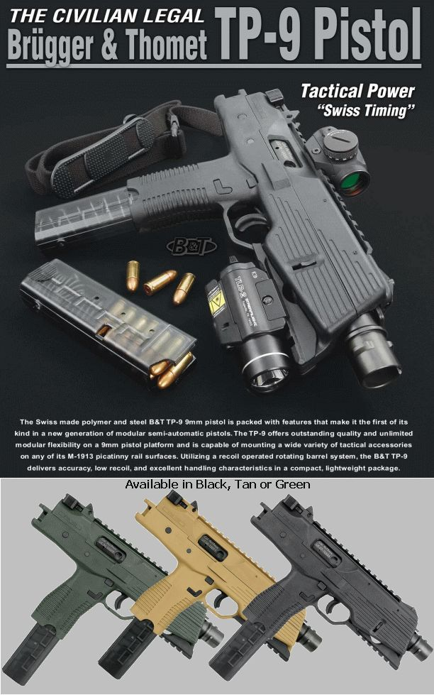 TP9 Semi-Auto Tactical Pistol, 9mm. CIVILIAN LEGAL - TP9-D S Arms