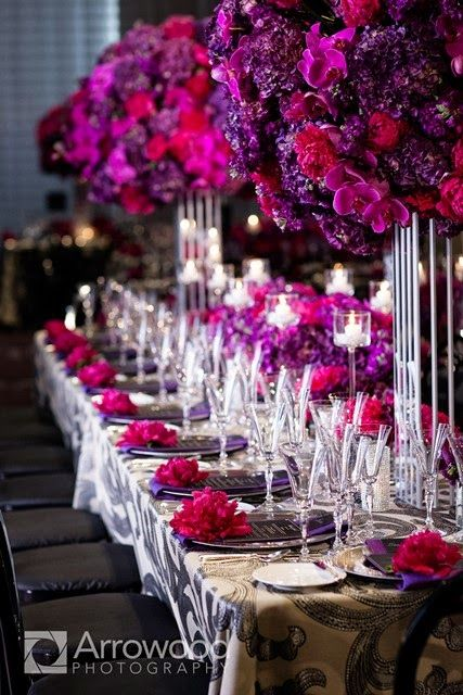 Purple wedding decorations.