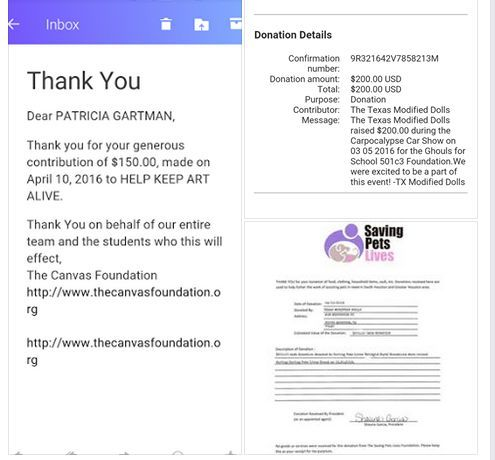 Few of the charitable donations made by the Modified Dolls Texas Chapter to benefit: the CANVAS Foundation, Ghouls for School and Saving Pets Lives a total of $650. We are the Different making a Difference! :)  #ModifiedDolls #ModifiedWomen #Texas #TXdolls #NonProfit #SupportingCharities #fundraising #donation