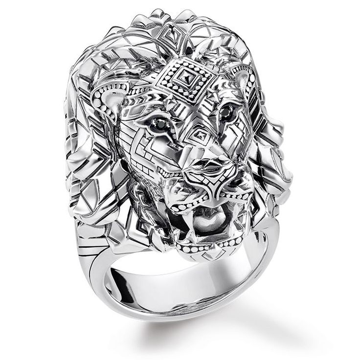 ring - 925 Sterling silver, blackened - zirconia black • Symbol of strength • Expressive look • Symbol of courage King of the animals: the lions head ring with detailed graphic patterning personifies strength, courage and self-confidence.