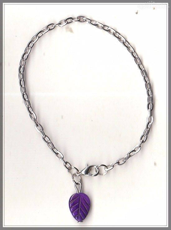 Purple Leaf MOP Shell Bead Silver Tone Chain Bracelet(18cm) by MadAboutIncense - $9.50