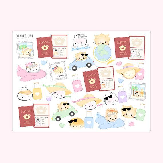 Stickers - Travel Dimsum - Bunderlust [Plane Stickers, Road Trip Stickers, Passport Stickers, Luggage Stickers, Vacation Planner Stickers]