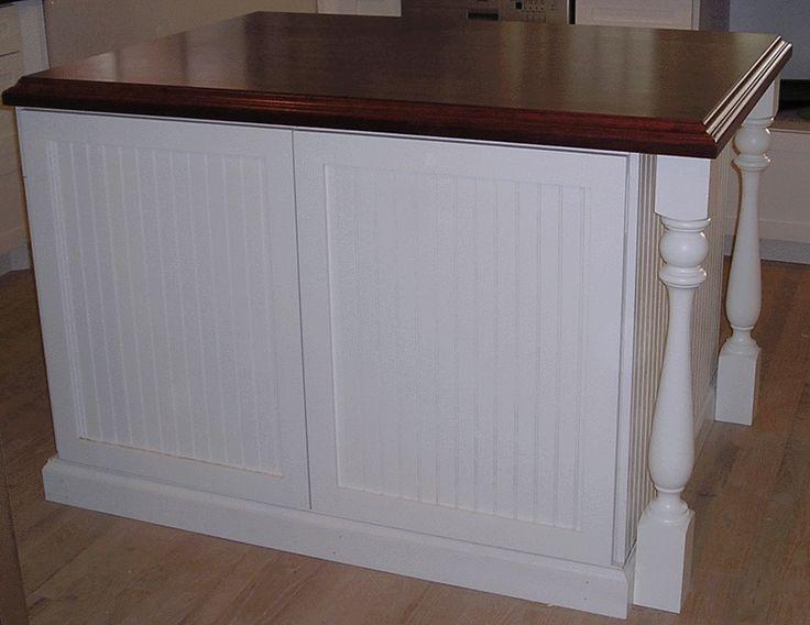 Kitchen Island White Beadboard Beautiful Counter Wood Floors Baluster Table Leg Accents