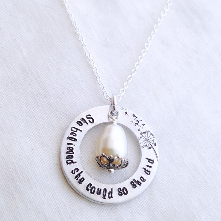 Dandelion Puff she BELIEVED she could so SHE DID dream achieve affirmation Birthday Sisters Gift Necklace Washer Names gift quote pendant  by faeriekissageStudio on Etsy https://www.etsy.com/listing/165892074/dandelion-puff-she-believed-she-could-so
