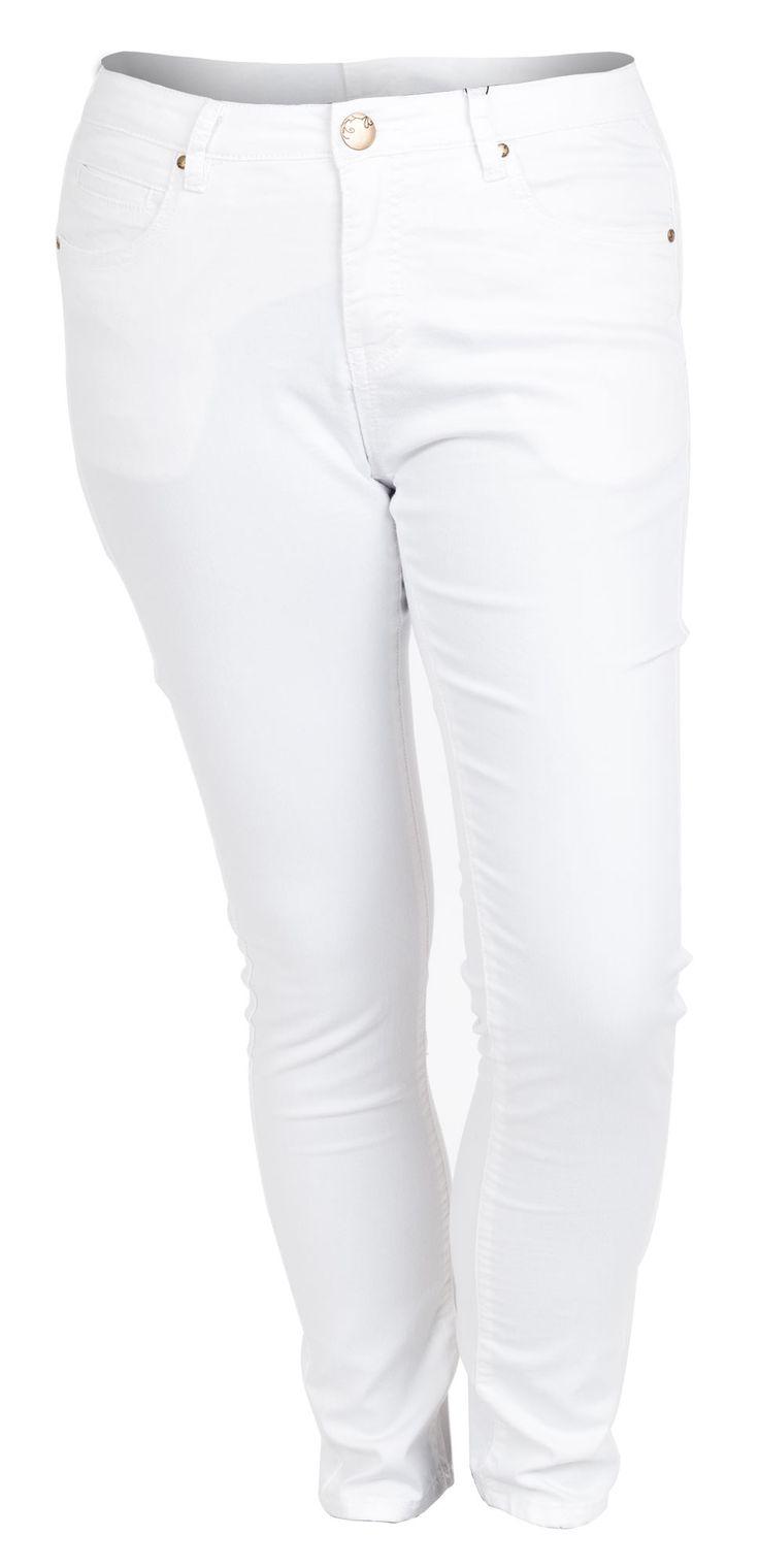 Mega cool Hvide Twill Jeans i store størrelser Studio Modetøj til Damer i lækker kvalitet