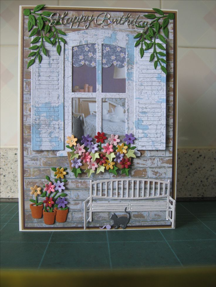 I made this card using Rob Adams window die set and papers from coordinating cd, Marrianne bench, Cheery Lynne cats and leaves
