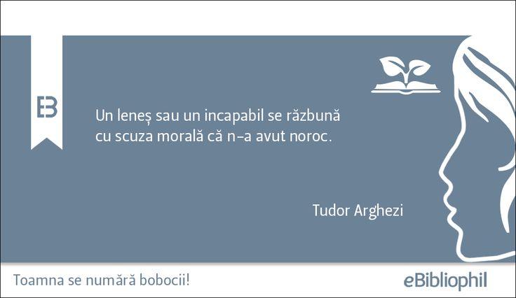"""""""Un leneș sau un incapabil se răzbună cu scuza morală că n-a avut noroc."""" Tudor Arghezi"""