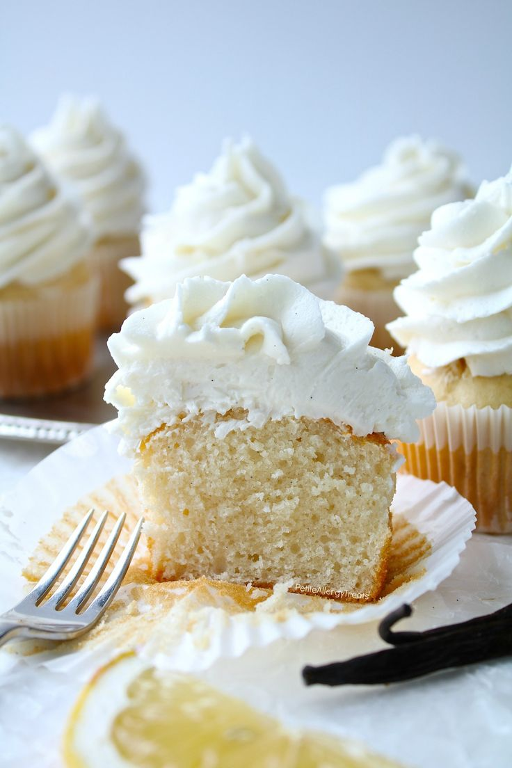 Vegan Vanilla Cupcakes Recipe (gluten free dairy free egg free)- Bakery style real vanilla bean cupcakes. Food Allergy friendly. Top 8 Free & Allergy Amulet.