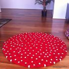 White Dotted 90cm Handmade Woollen Colorful Freckle Felt Ball Rug Made to Order