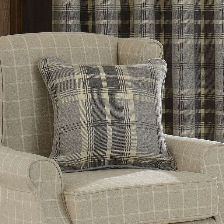 Highland Check Dove Grey Pencil Pleat Curtains | Dunelm