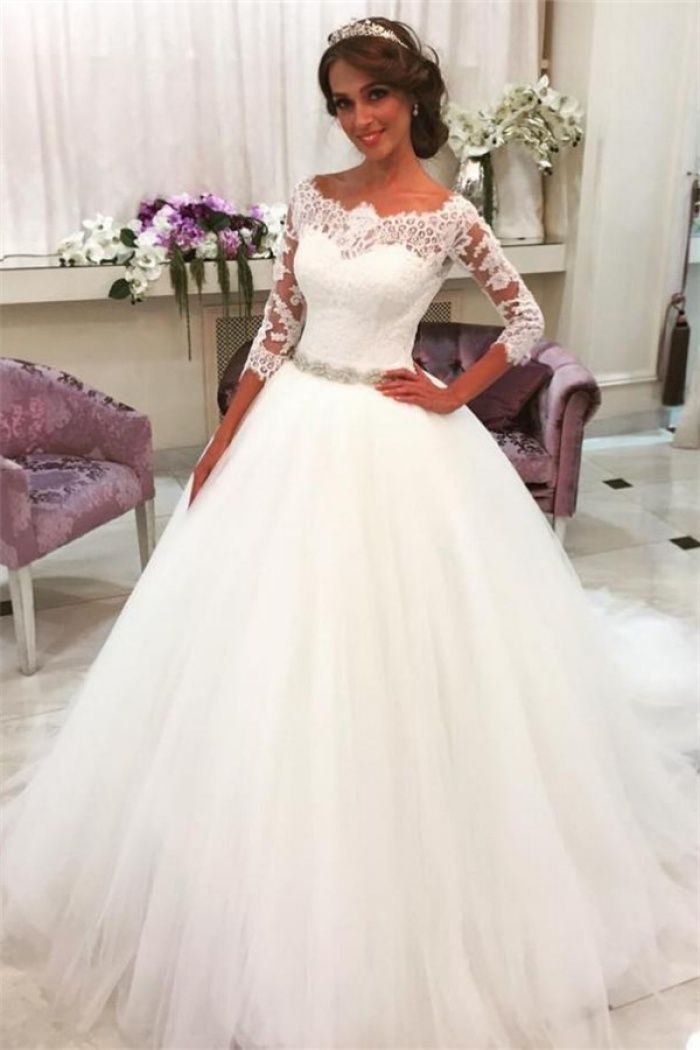 Lace Half Sleeves Ball Gown Wedding Dresses Scalloped Neckline