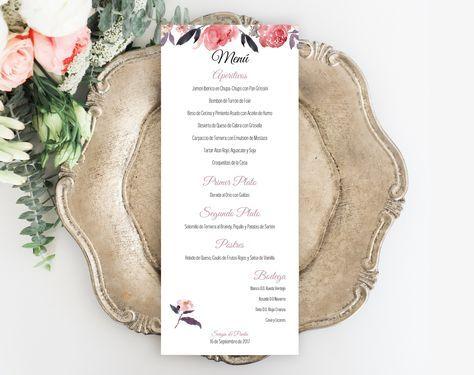 Menu Imprimible de Boda. Plantilla PDF. Sweet Emotion. Plantilla PDF. Invitaciones imprimibles para bodas. Tarjetas de boda para imprimir desde casa.
