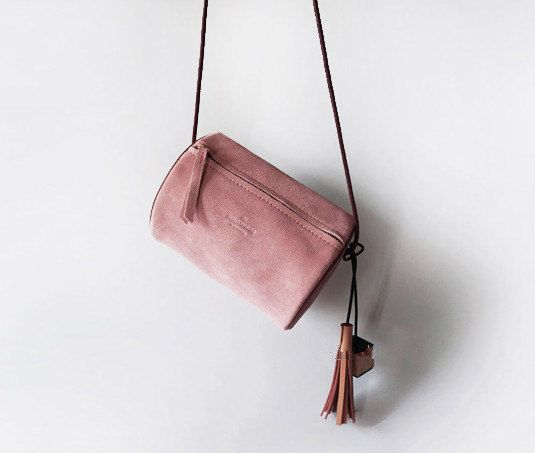 Eraser Pink Suede Cross body Bag