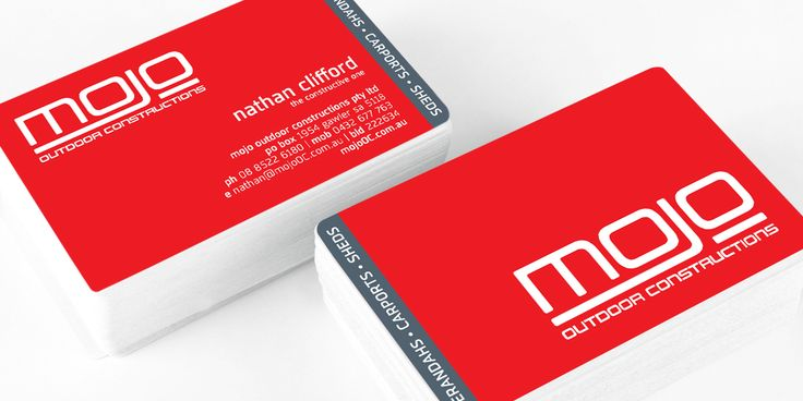 Mojo Outdoor Construction business card design by Icon Graphic Design Adelaide.