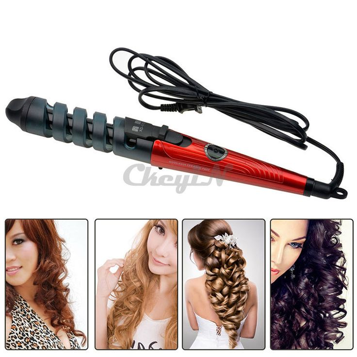 Hair Styling Modeling Barrel Curler Iron Curling Wavy Wand Perm Rod for Lady Red #Ckeyin