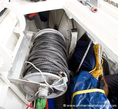 An Easyroll line reel with Dyneema rope on it, stored in the foreward locker on aluminum expedition sailboat Polaris