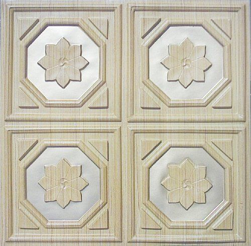 "Ceiling Panel Tile Madern Style #104 Teak TIN Silver 24"" X 24"" PVC Ul Class ""A"" Rated, Can Be Glue on Any Flat Serface, Can Be Glue Over Existing Tile.suspended Ceiling!decorative. by Ceiling Tiles by Us,remodeling,renovation. $7.99. Variety of styles decorative ceiling tile, any  offices renovation,schools,homes,remodeling,drop ceiling ext.. Faux tin plastic 2x2 Ceiling tile Teak wood finish Easy to install with overlaping edges in Kitchen,LIVING ROOM,RECREATION ROOM,BASEMENT,PA..."