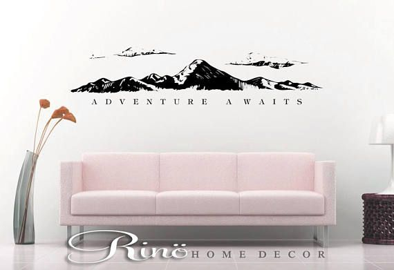 Adventure awaits wall decal Mountains wall quote vinyl