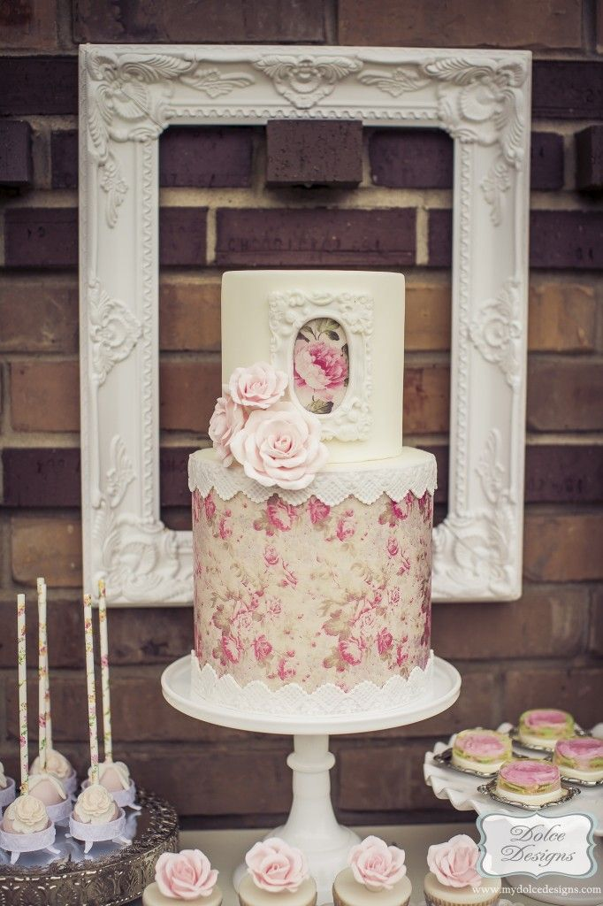 Romantic wafer paper cake. Wedding cakes Houston | Dolce Designs