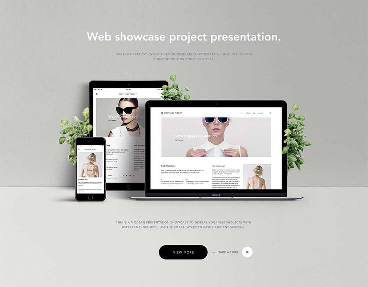 this is an elegant website showcase portfolio psd template with a desktop tablet and mobile