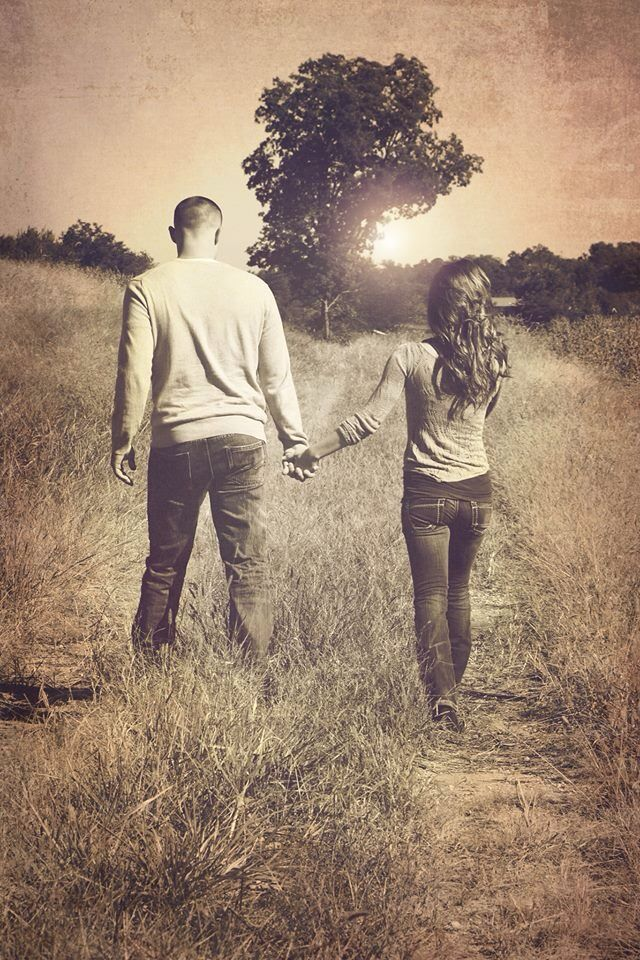 love the sunset in the background and position of the tree! Maybe looking at each other while walking away?