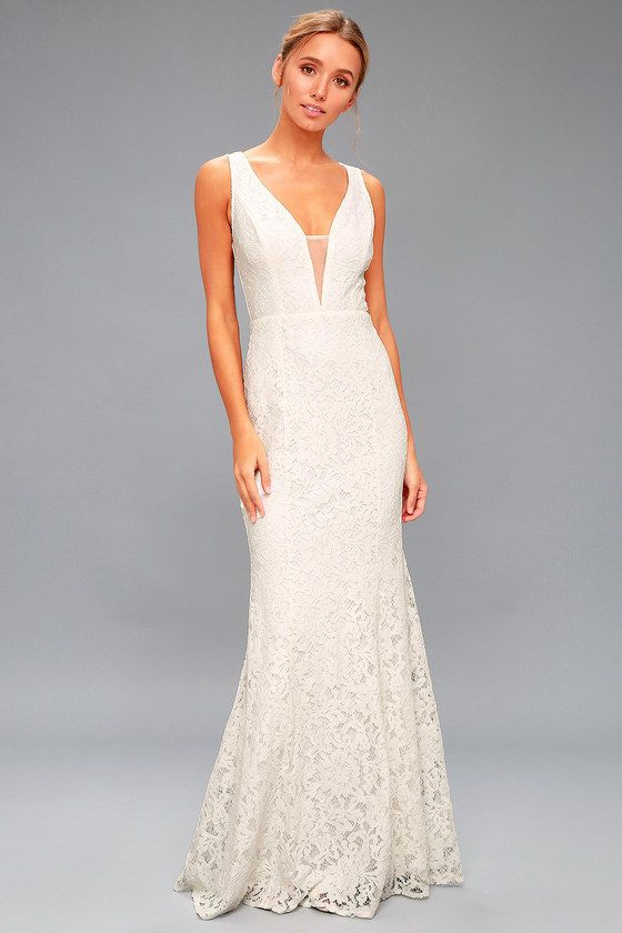 24f48ab2700d Stunning White Lace Maxi Dress - Mermaid Dress