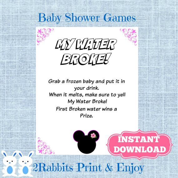 Minnie Mouse My Water Broke! Game Sign Frozen Baby Game  Disney Baby Shower