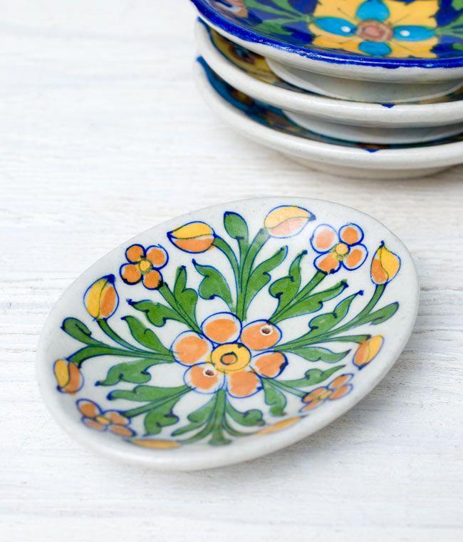 ジャイプール陶器のソープディッシュ - オレンジの写真1