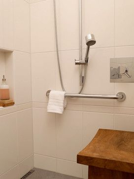 "This is a great design for older people."" ""Shower with room to stand or sit and floor drain for curbless design"""