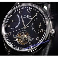 Parnis watch 43mm power reserve Black dial seagull movement date Automatic Self-Wind  Men's watch 20(China (Mainland))