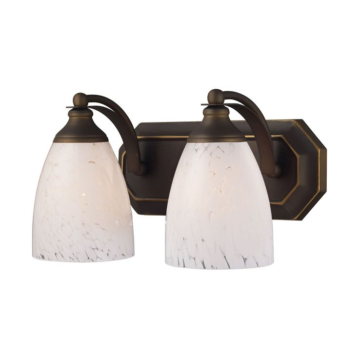 Bath And Spa 2 Light Vanity In Aged Bronze And Snow White Glass 570-2B-SW