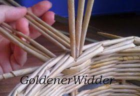 Плетение из газетных трубочек: Ручка для корзин, один из вариантов плетения…