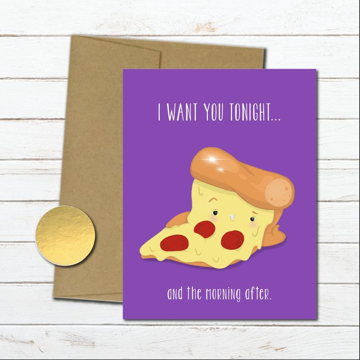 Dirty pizza card for him, anniversary gifts for men, sexy birthday card boyfriend, food card for her, naughty love adult card, morning after