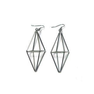 dunkelrhodinierte geometrische Ohrringe - Anhänger zirka 6 cm - Gesamtlänge zirka 8 cm - nickelfrei