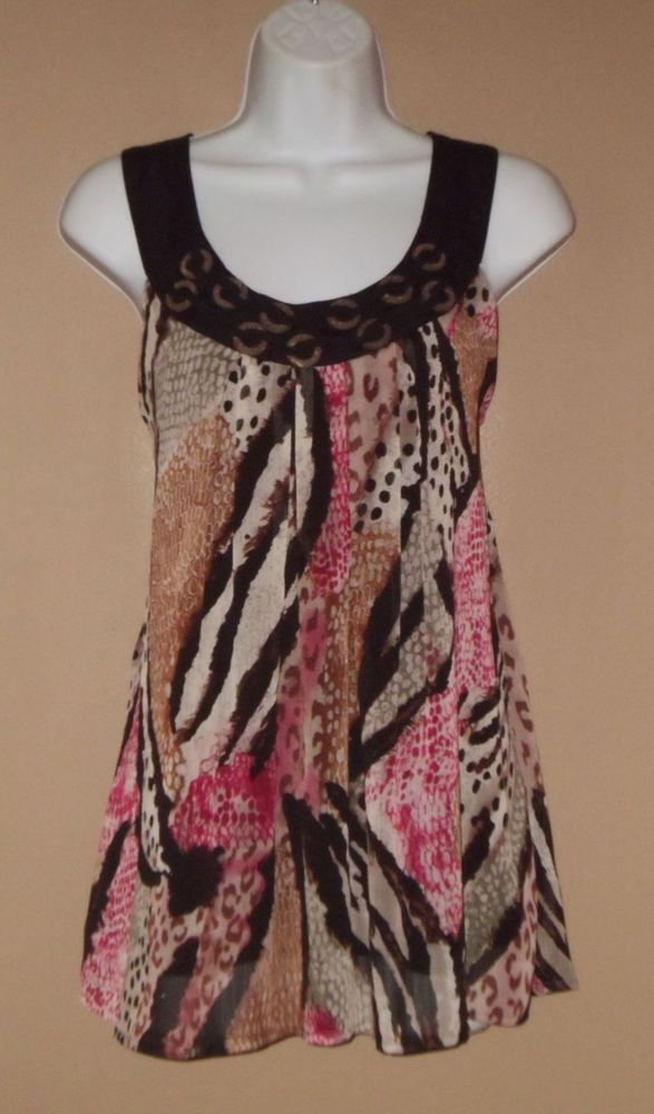 Womens Large Sleeveless Brown Pink Green Beige Animal Print Shirt  #LarryLevine #Blouse #Versatile