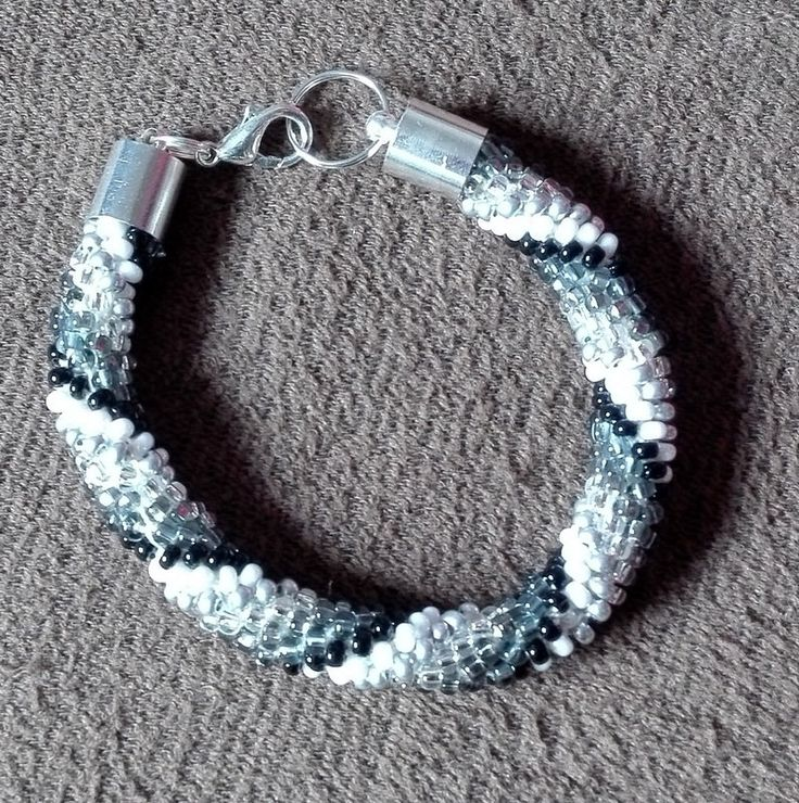 White to Black Bracelet, Beaded Bracelet, crochet Bead Bracelet, Gray Bracelet, Sparkle& Shine, Elegant by IMAGINARIUM2015 on Etsy